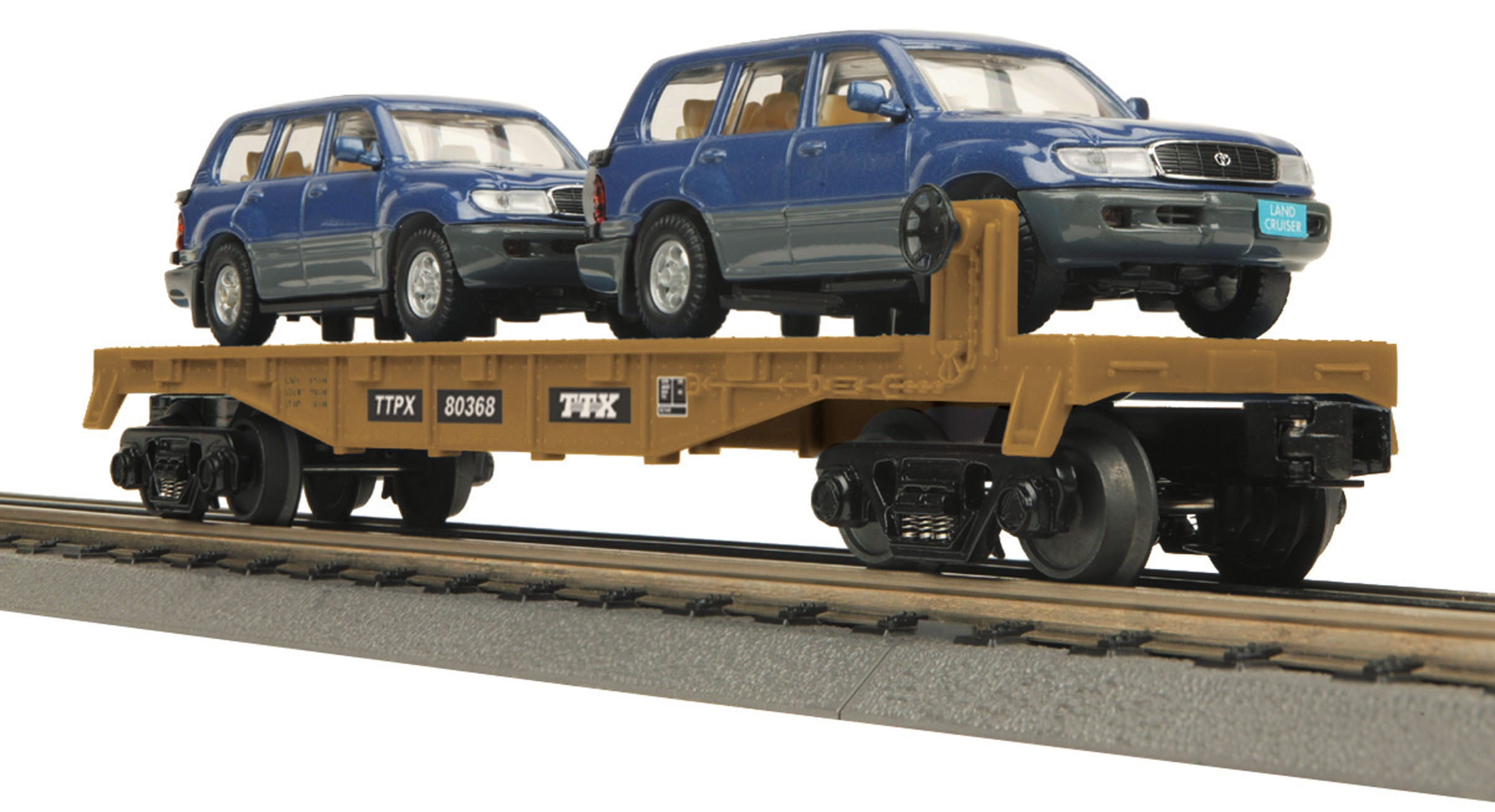 MTH #30-76300 Flat Car w/2 Toyota Land Cruiser VX.R Auto Loads