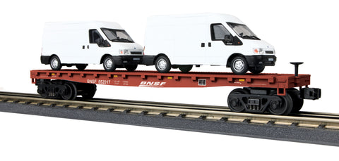 MTH # 30-76676 BNSF Flat Car w/2 Ford Transition Van