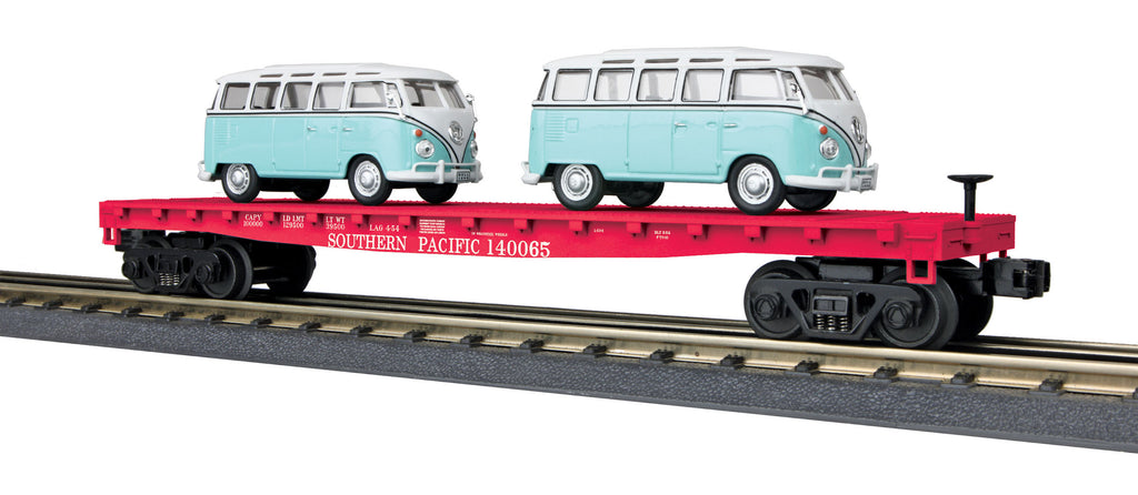 MTH # 30-76677 Southern Pacific Flat Car w/2 VW Bus