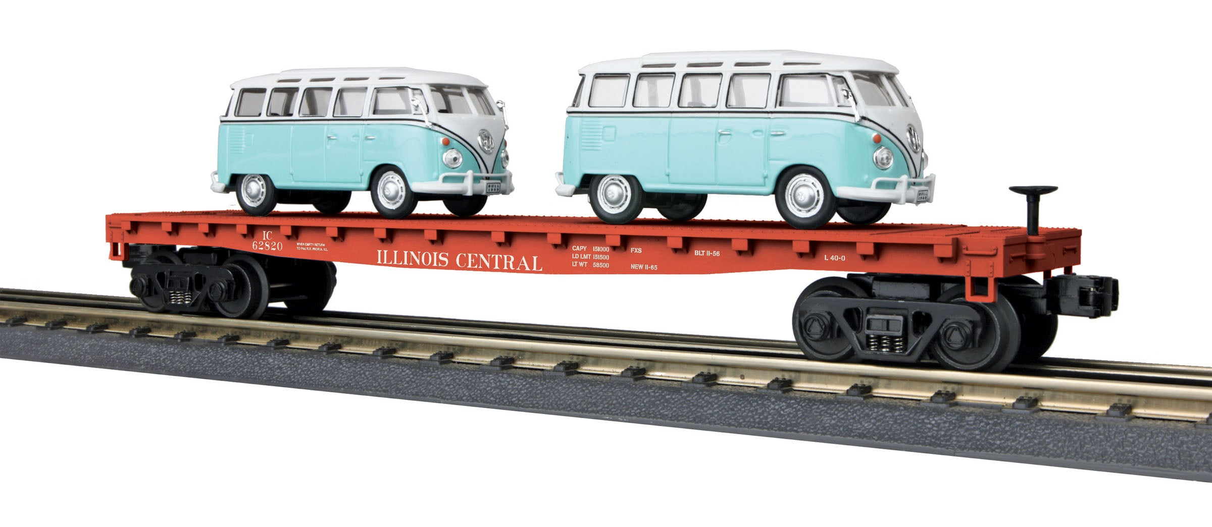 MTH # 30-76678 Illinois Central Flat Car w/2 VW Bus