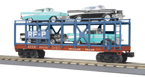 MTH # 30- 76790 Auto Carrier Flat Car w/4 '57 Chevy Bel Air
