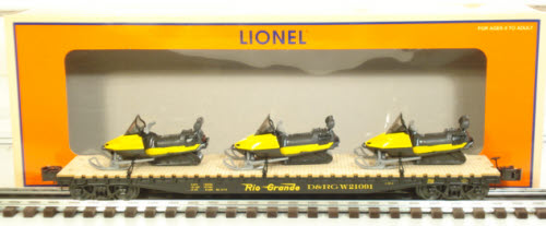 LIONEL # 52414 TCA 2007 DENVER, CO D&RGW PS-4 F/CAR W/SNOWMOBILE LOAD
