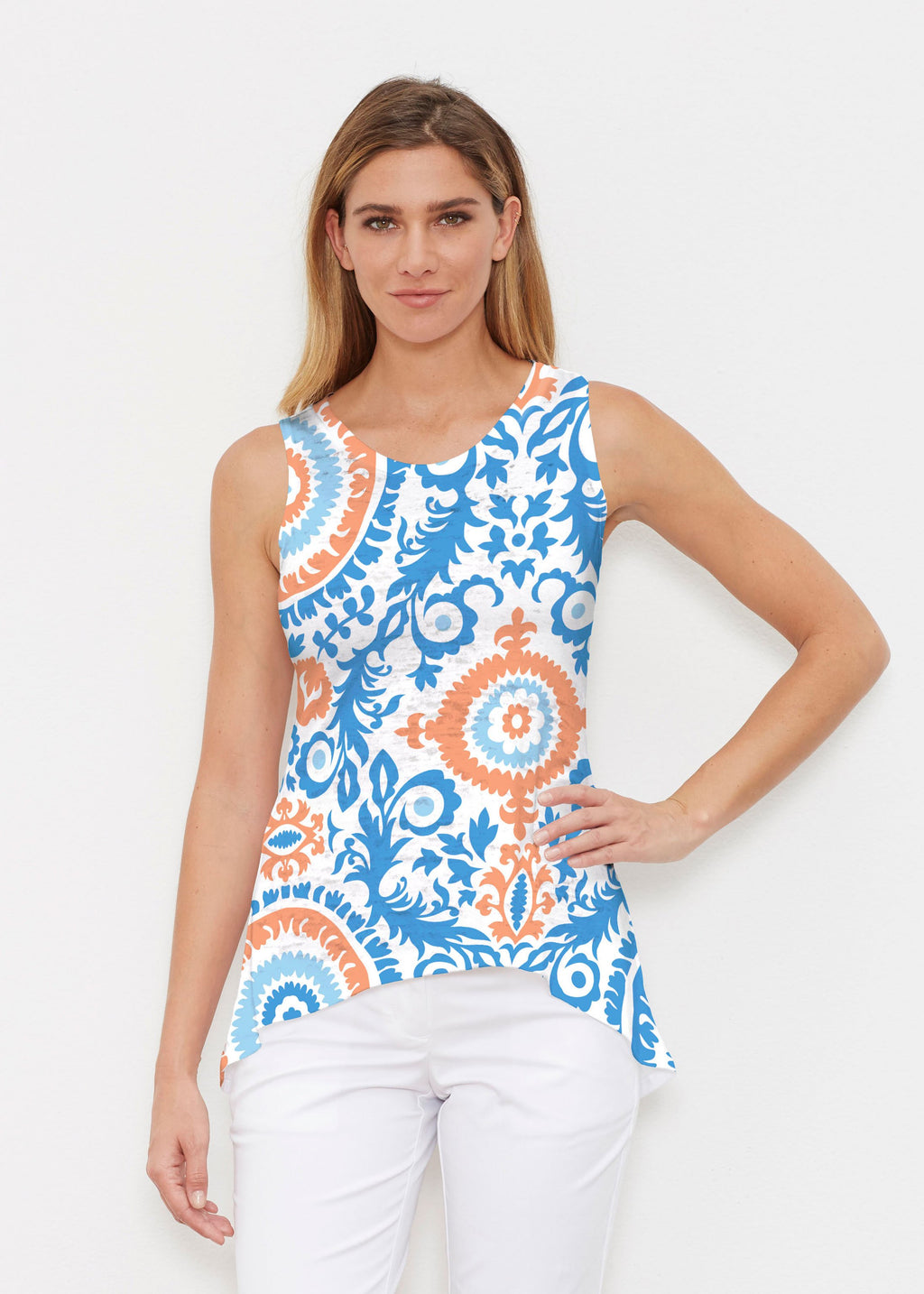 Blue and Orange Whimsy Rose Tank Top