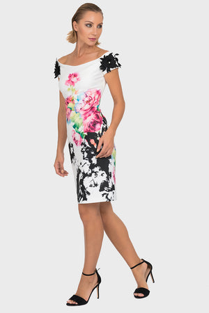 Joseph Ribkoff White, Black and Floral Dress
