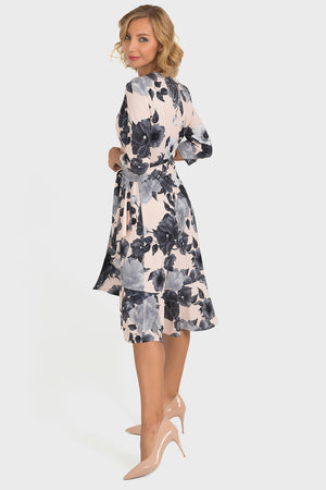 Pink and Grey Floral Dress by Joseph Ribkoff
