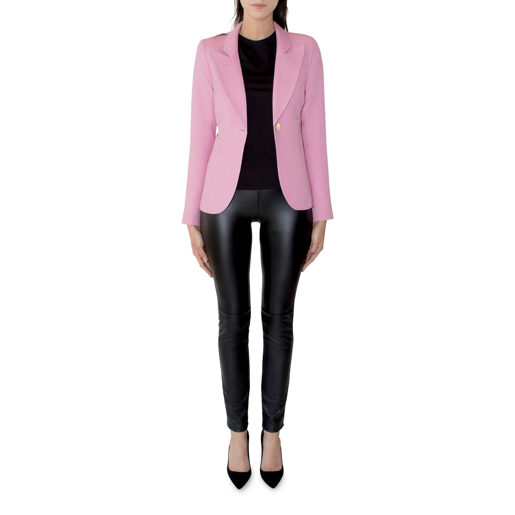 The classic Duchess now available in the Rethink Pink to benefit breast cancer. For every blazer purchased Smythe will donate $50 Rethink Pink Breast Cancer. A stunning color, and perfect for the upcoming Spring season.   100% Lightweight Wool Curvy Figures May Wish To Go Up A Size Made in Canada