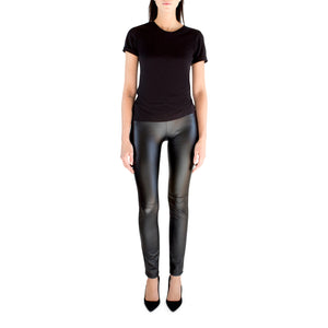 "Warmer and more edgy than denim, these vegan leggings are going to be your go-to black pants this winter. Perfect with fuzzy sweater and booties.  Super stretch vegan leather made from PU Elastic waistband  9"" rise  32"" inseam (size xs) Dry clean only Made in NYC"