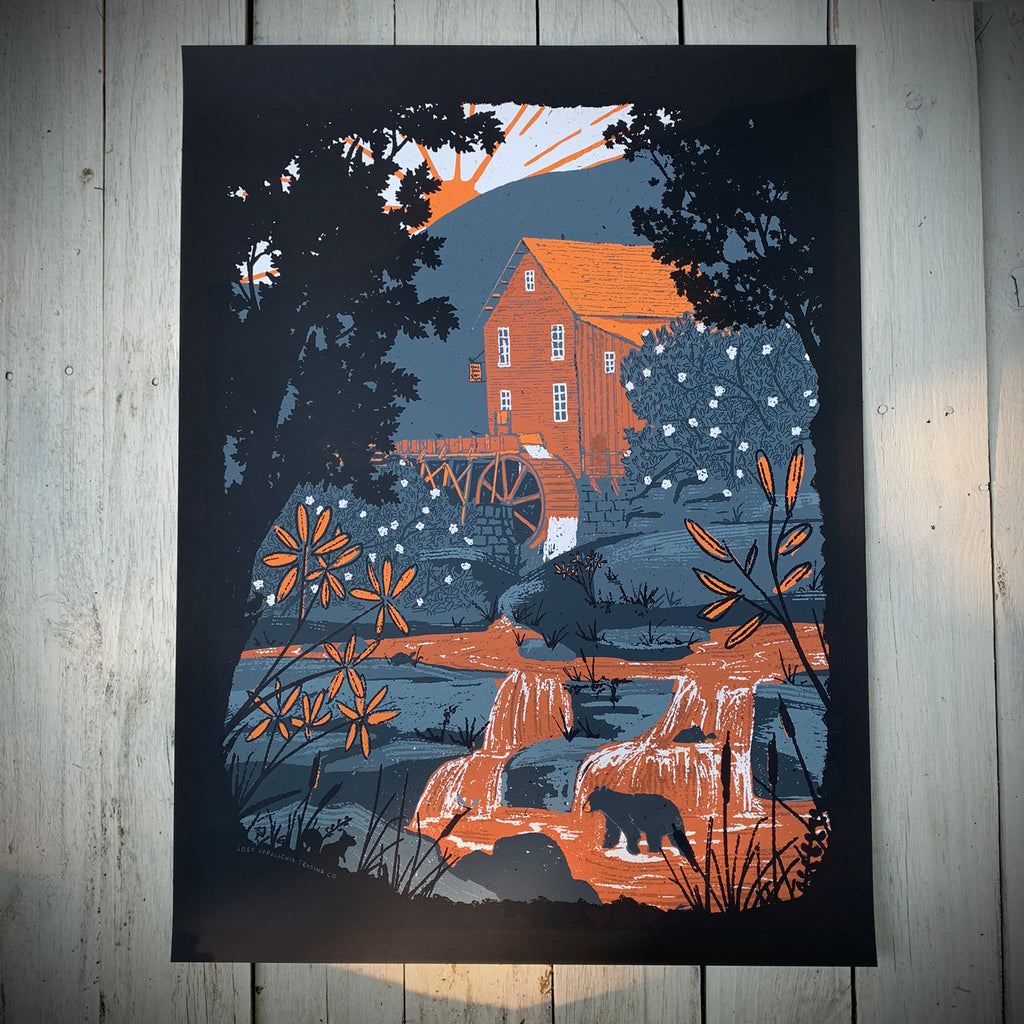 Glade Creek Grist Mill Screen-Printed Poster