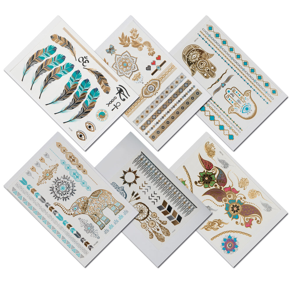 42fb77fc54af1 TempiTats Parvati Flash Tattoo Collection - Temporary Boho Metallic Henna  Tattoos (6 Sheets). Trendy Festival Accessories and Great for Bachelorette,  ...