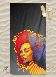 Art Towel - Wild Curls on Black Ombre