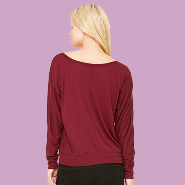 Long Sleeve Flowy Top Trail Over Treadmill Claret