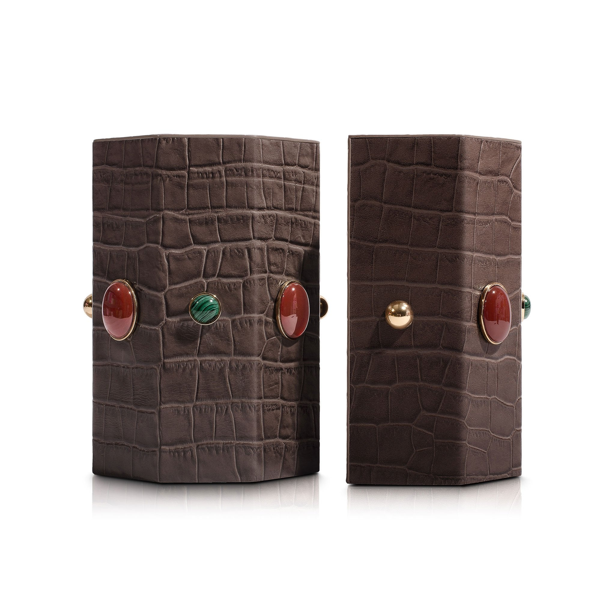 Madame Malachite Jeweled Bookends - Taupe - Assouline