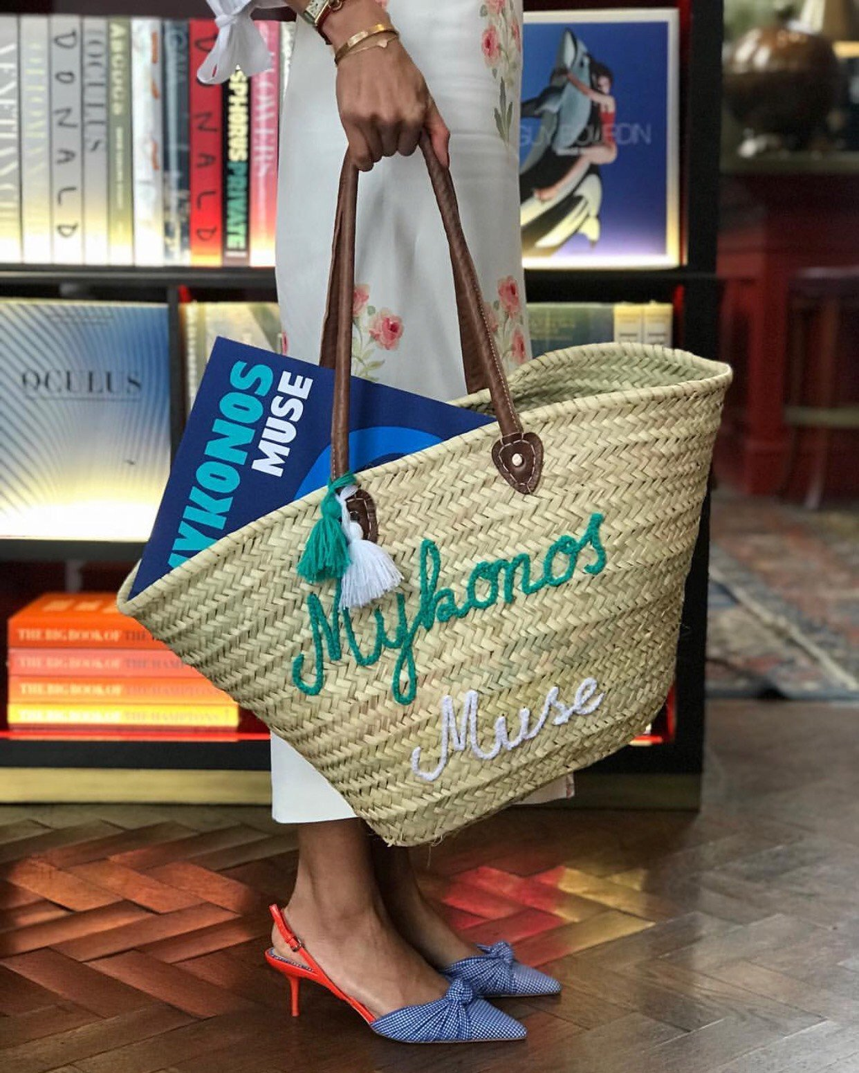 Mykonos Muse Straw Bag and Book Set - Assouline