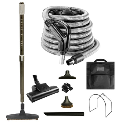 VPC Central Vacuum Accessory Kit - Air Driven - Telescopic Wand with Deluxe Tool Brushes - Black