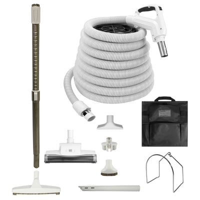 VPC Central Vacuum Accessory Kit - Air Driven - Telescopic Wand with Deluxe Tool Brushes - White