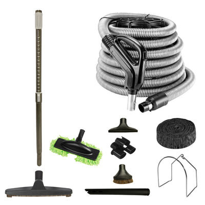 Central Vacuum Accessory Kit with Low Voltage Hose and Telescopic Wand - Black