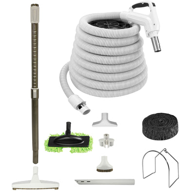 Central Vacuum Accessory Kit with Low Voltage Hose and Deluxe Tool Set - White
