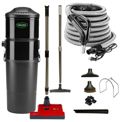 Vacuflo DB7000 Central vacuum with SEBO ET-1 Electric Powerhead and Premium Electric Package - Black (Red Powerhead)