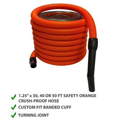 VPC Basic Garage / Car Cleaning Kit for Central Vacuum - Orange Crush Proof Hose