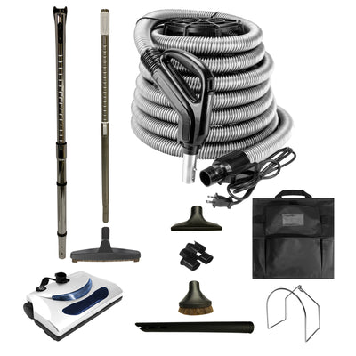 Central Vacuum Accessory Kit with PN11 Powerhead and Deluxe Tools - Black