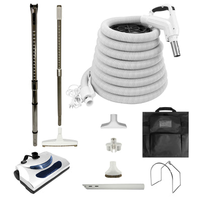 Central Vacuum Electric Accessory Kit with PN11 Powerhead and Deluxe Tools - White
