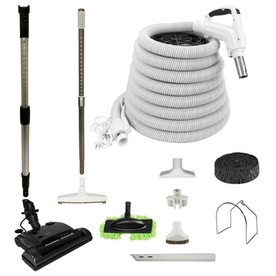 Central Vacuum Electric Attachment Kit with PN33 Electric Powerhead and Deluxe Tool Set - White