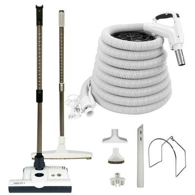 VPC Central Vacuum Accessory Kit with White Hose and SEBO ET-1 Powerhead - White