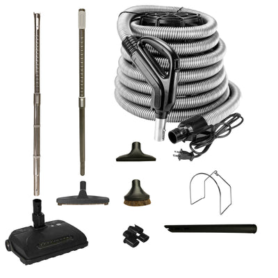 VPC Central Vacuum Accessory Kit with Telescopic Wand and Deluxe Tool Set - Black