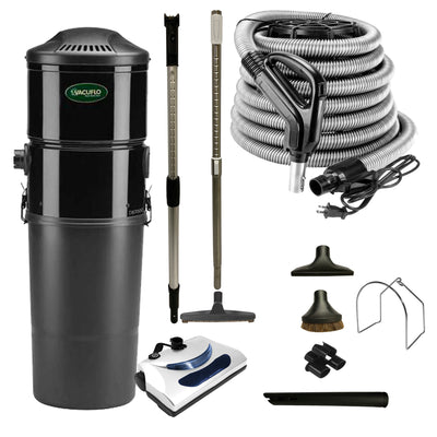 Vacuflo DB7000 Central Vacuum with Basic Electric Package - Black