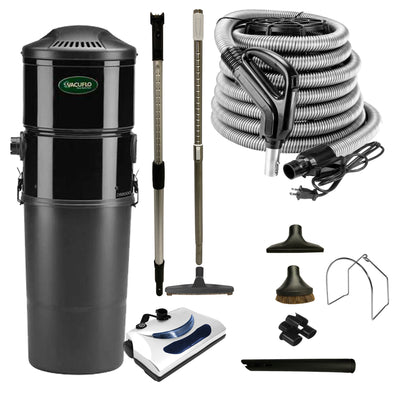 Vacuflo DB8000 Central Vacuum with Basic Electric Package - Black