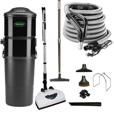Vacuflo DB8000 Central Vacuum with Deluxe Electric Package - Black