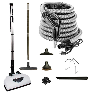 Wessel Werk Central Vacuum Accessory Kit with Telescopic Wand and Deluxe Tool Set - Black