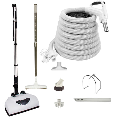 Wessel Werk Central Vacuum Accessory Kit with Telescopic Wand and Deluxe Tool Set - White