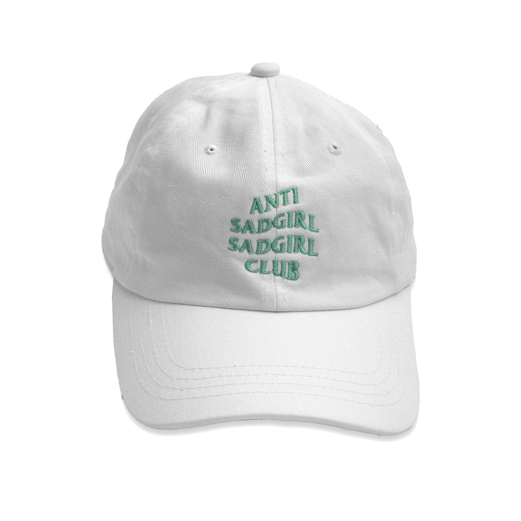 Anti Sadgirl Dad Hat / White