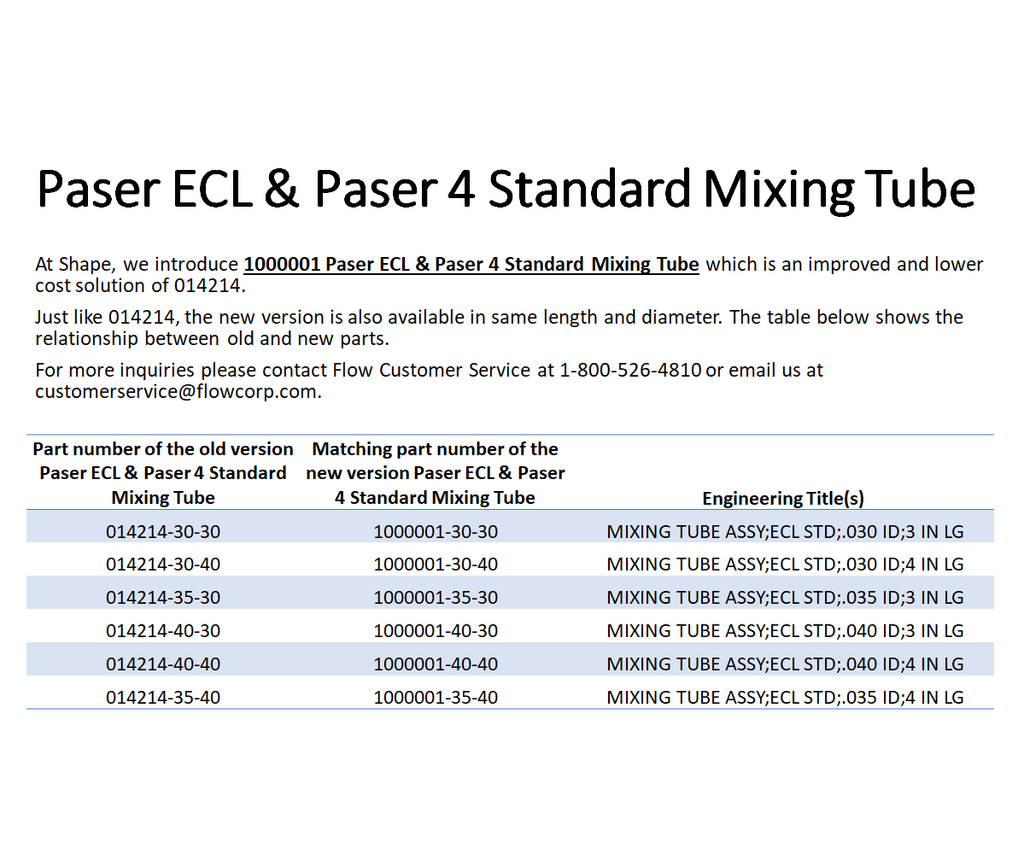 DELTA Standard Waterjet Mixing Tube for Paser ECL & Paser 4