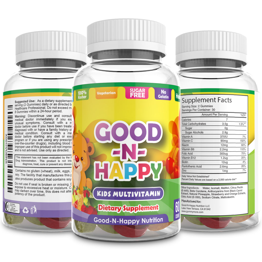 sugar free kids multivitamin gummies by good and happy nutrition