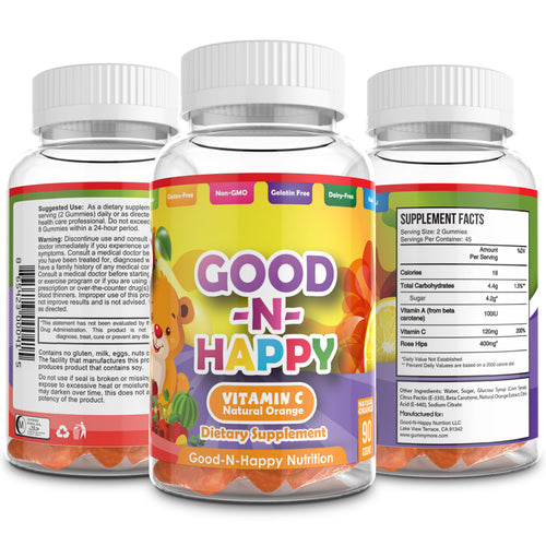 Good-N-Happy Kids Vitamin C Gummies (90 Chewable Bears) Soft Gummy, Natural Orange Flavor | Non-GMO, Gluten Free Immunity Support | Certified Kosher and Halal
