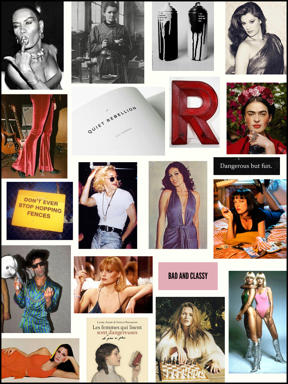 Fashion design mood-board of fashion brand for women She Is Rebel
