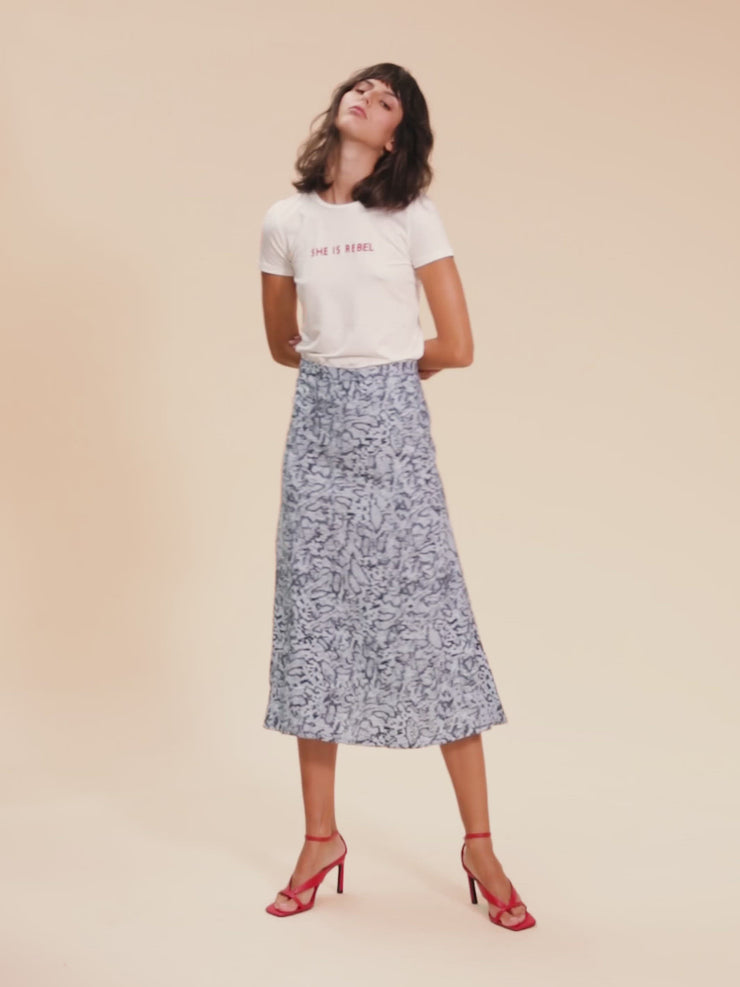 She Is Rebel - She Is Rebel Slim Fit Ecru Tencel Logo T-shirt & Virginia Midi Blue Snake Print Skirt - Shop Stylish Sustainable Women's Tops