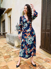 Navy Floral Dress With Button Detail - Shop online women's dresses at She Is Rebel