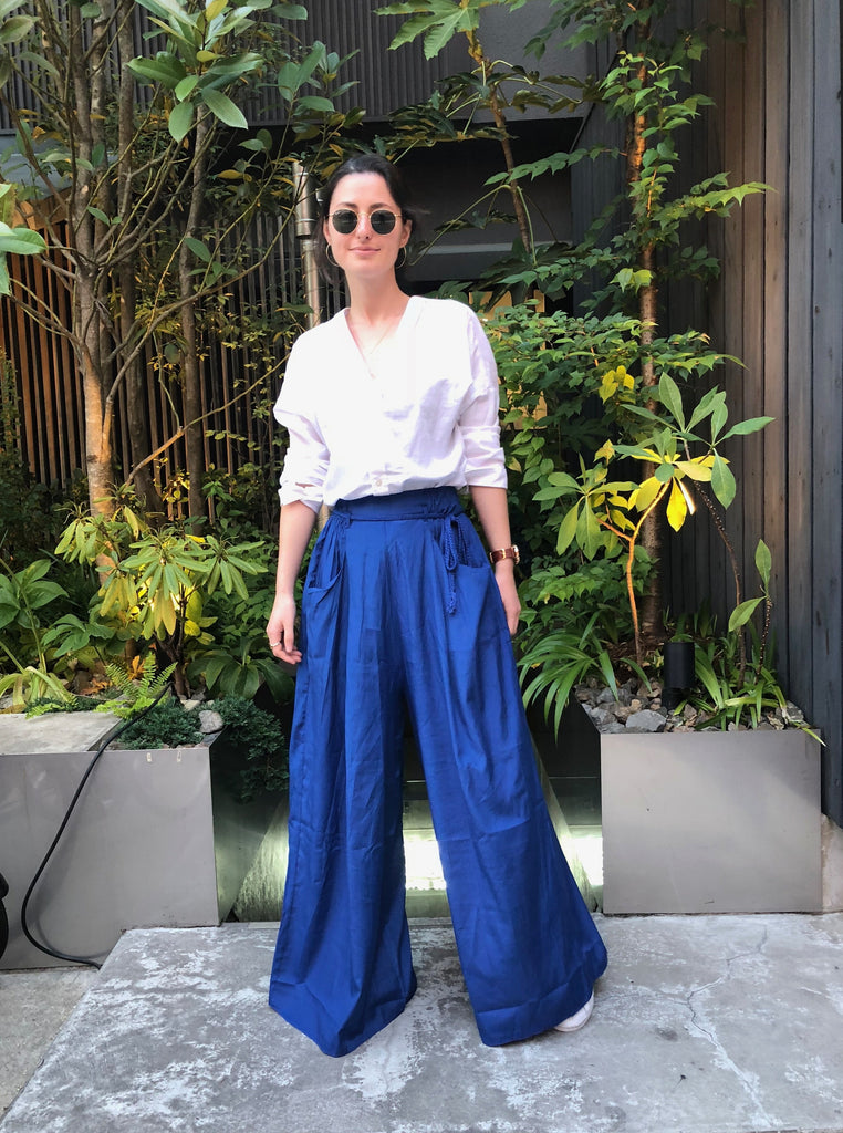 Blue Palazzo Pants - Shop online women's trousers at She Is Rebel