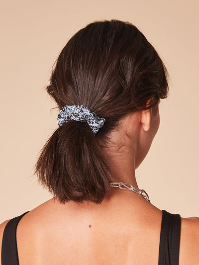 She Is Rebel - Halime Blue Snake Print Eco-friendly Viscose Hair Scrunchie - Shop Stylish Sustainable Women's Accessories