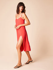 She Is Rebel - Billie Midi V Neck Red Front Slit Slip Dress - Shop Stylish Sustainable Women's Dresses