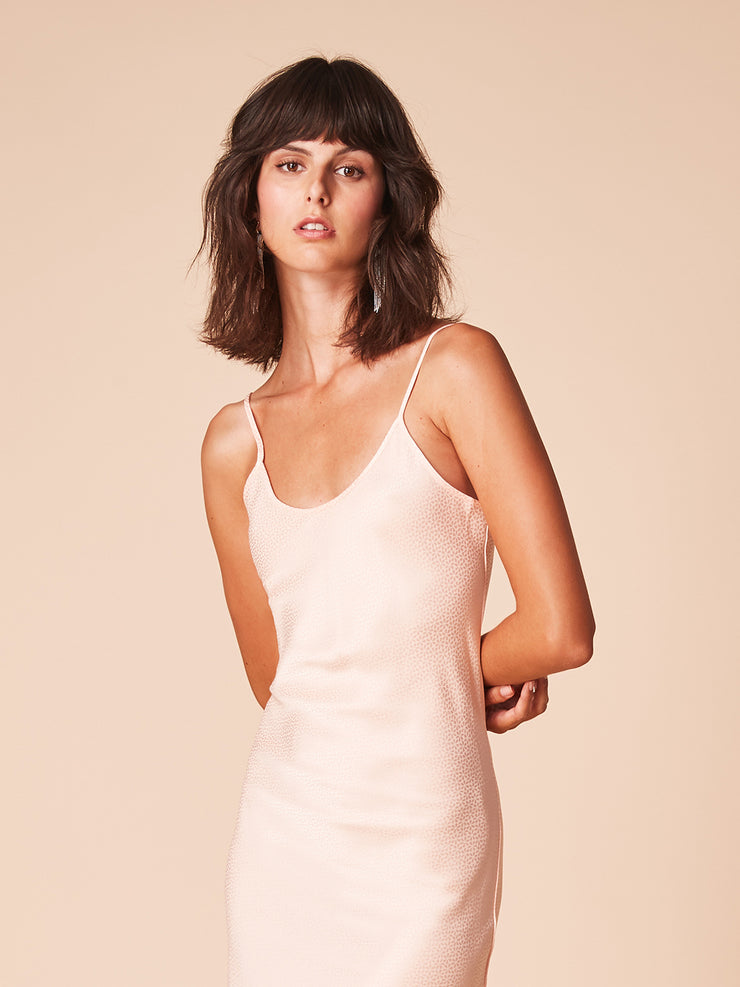 She Is Rebel - Florence Midi V Neck Peach Slip Dress - Shop Stylish Sustainable Women's Dresses