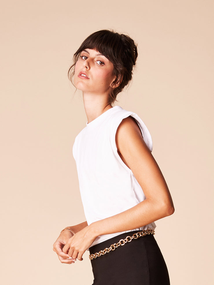 She Is Rebel - Sabiha White Padded Shoulder Organic Cotton T-shirt & Gabrielle Black Extra Flare Wide Leg Pants - Shop Stylish Sustainable Women's Tops