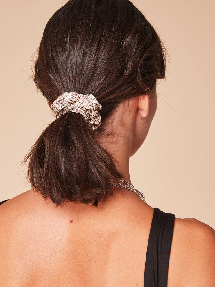 She Is Rebel - Gamze Ecru Snake Print Eco-friendly Viscose Hair Scrunchie - Shop Stylish Sustainable Women's Accessories