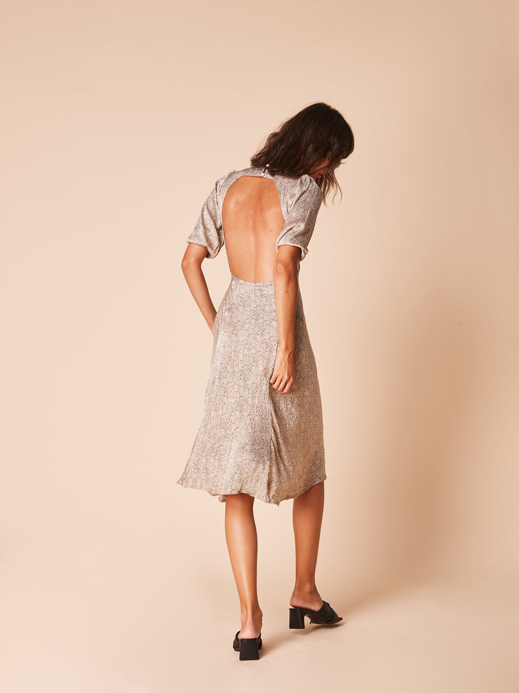 She Is Rebel - Iris Midi Ecru Snake Print Open Back Dress - Shop Stylish Sustainable Women's Dresses