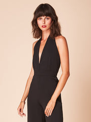 She Is Rebel - Rosa Black Wide Leg Deep V Neck Jumpsuit - Shop Stylish Sustainable Women's Jumpsuits