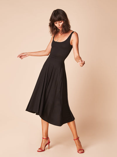 She Is Rebel - Sarah Midi Black Tencel Fit & Flare Dress - Shop Stylish Sustainable Women's Dresses