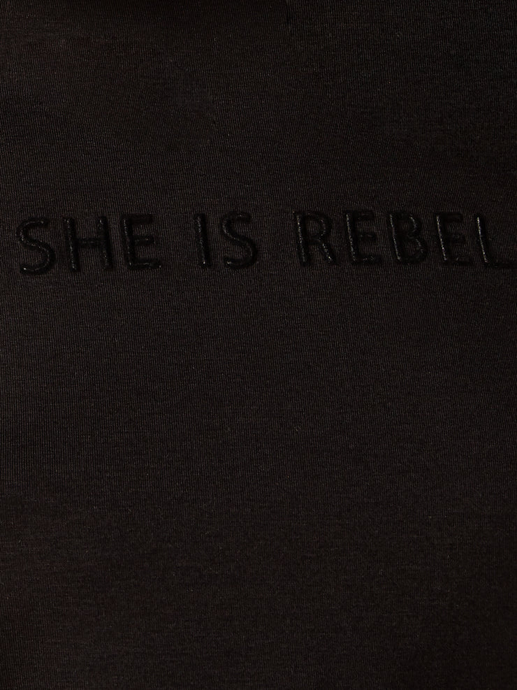 She Is Rebel - She Is Rebel Slim Fit Black Tencel Logo T-shirt - Shop Stylish Sustainable Women's Tops